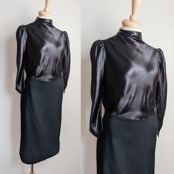 AS IS 1930s Black Liquid Satin & Wool Dress