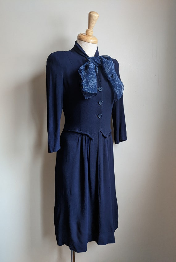AS IS 1940s Navy Crepe Rayon Scarf Dress