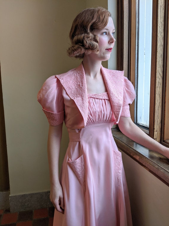 Late 1930s Pink Taffeta Dress & Bolero Set
