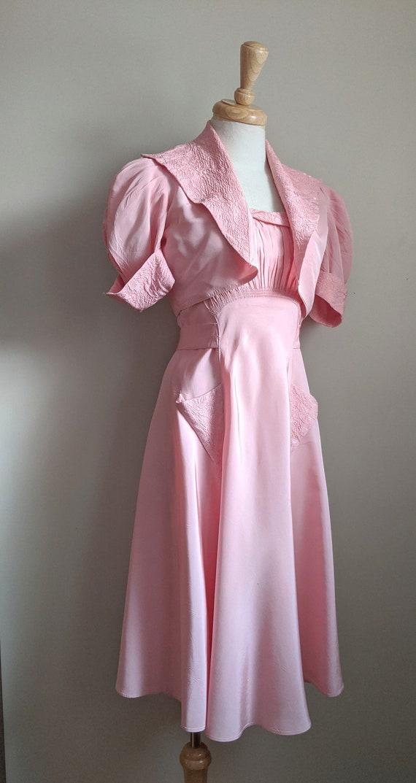 Late 1930s Pink Taffeta Dress & Bolero Set - image 6