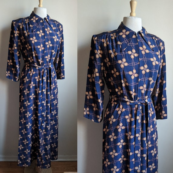 1940s Evelyn Pearson Royal Blue Floral Print Hoste
