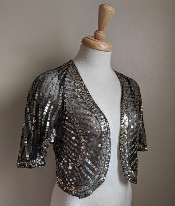 1930s Black & Silver Sequin Flutter Sleeve Bolero - image 3