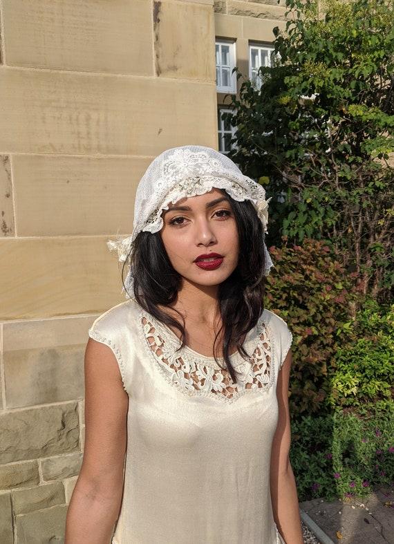 1920s Silk Lace Wedding Cap