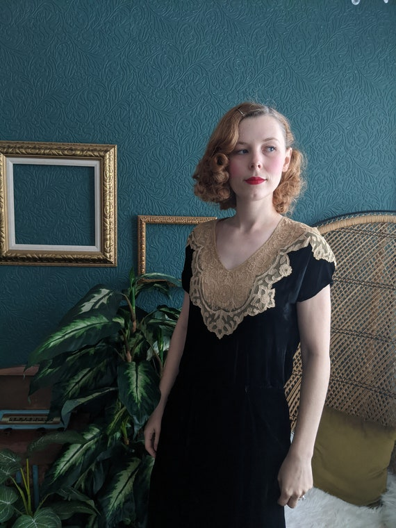 AS IS Early 1930s Antique Lace & Black Velvet Dres