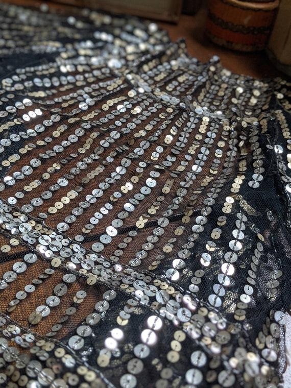 1930s Black & Silver Sequin Flutter Sleeve Bolero - image 10