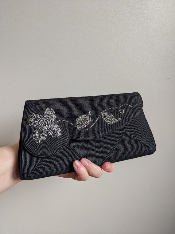 1940s Black & Silver Cordé Clutch Purse