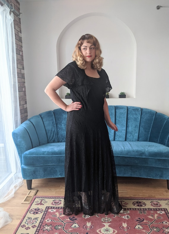 AS IS 1930s 1940s Black Sheer Chantilly Lace Gown