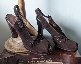 Vintage 1940s Chocolate Brown Cut-Out Peep Toe Slingback Heels