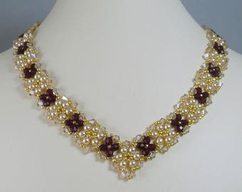 Necklace and Earrings Set V Style Red and Gold Crystal with Cream Pearls