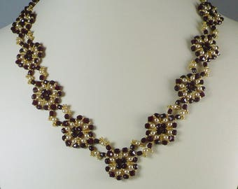 Woven Necklace and Earrings Set Red Crystal Pearl and Golden Seed Beads