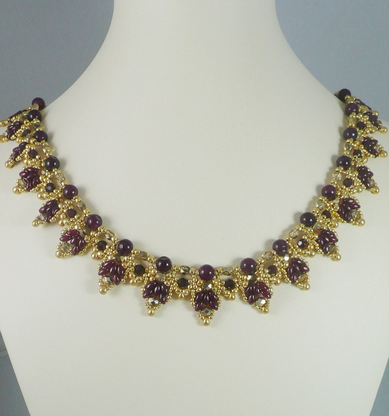 Woven Twin Bead Necklace Garnet and Gold