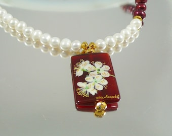 Pearl Necklace with Hand Painted Porcelain Pendant