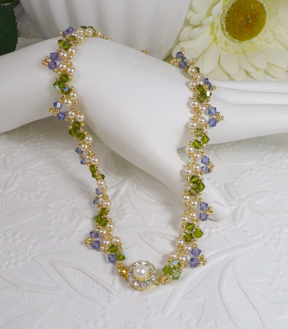 Pearl Tanzanite: Woven Pearl Necklace In Tanzanite And Green Gifts For Her