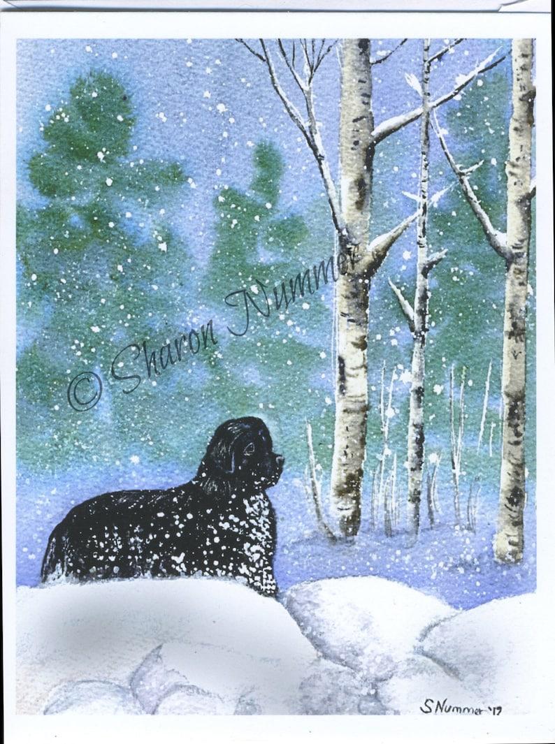 Original Newfoundland Dog Christmas Greeting Cards By S ...