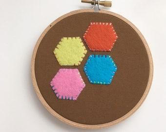 SALE - Felt Hexagon Embroidery Hoop