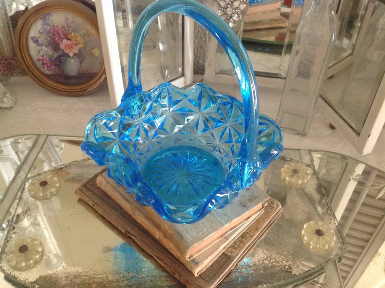 Art Glass Glass Vintage Beautiful Colorful Glass Basket