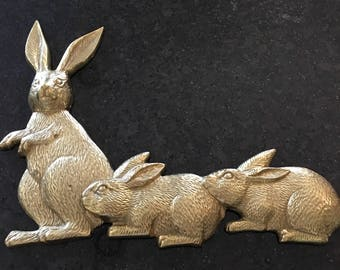 Brass Bunny Wall Hanging ~ Trio Of Bunnies Solid Brass ~ Vintage Home Decor ~ Brass Decorations ~ Gold Wall Decor ~ Bunny Lover