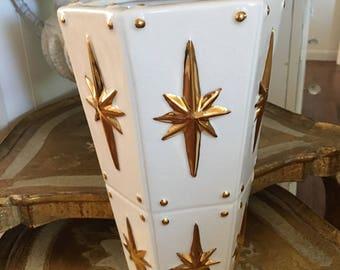 Jonathan Adler Vase ~ Mid Century Design Gold Starburst ~ Gold and Off White Vase ~ Collectible Fine Vase ~ Modern Design ~ Home Decor