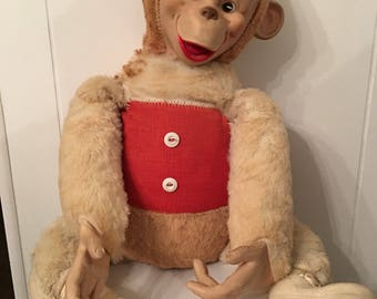 Vintage Stuffed Monkey ~ Old Blue Ribbon Stuffed Gorilla ~ Estate Find ~ Collectible Toys ~ Old Stuffed Animals ~