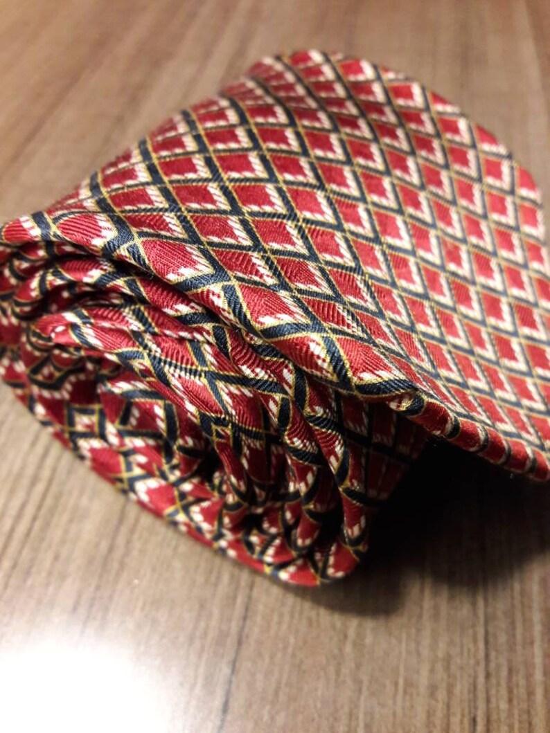 Etienne Aigner red silk tie with dark navy blue and white graphic retro window pane design 57 long necktie