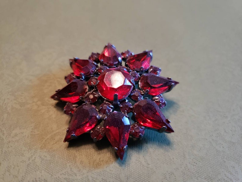 Medium Red vintage flower brooch holiday Christmas festive chunky statement piece Valentine/'s day Victorian costume
