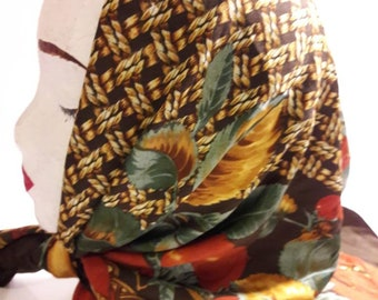 Extra large Square Silk scarf brown and gold basket weave pattern with red border,  greenery and fruits
