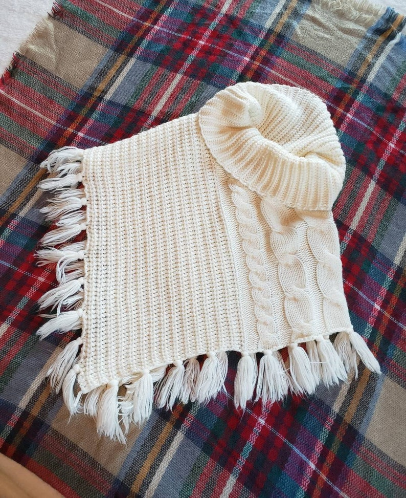 Cream cowl neck collar scarf knitted pullover shawl with fringe 25 wide laid flat
