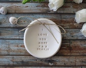 Engagement gifts for couple, I love you more, Wedding ring bearer Ring dish, Bridal party, Anniversary gift