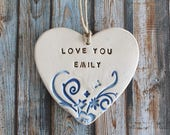Personalized Bridesmaids gift Gift for wife Love you ornament Custom bridesmaid gift Engagement gift Ceramic ornament Gift for girlfriend