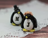 Personalized Wedding cake topper Penguin cake topper Animal cake topper  Wedding cake topper Bride and groom