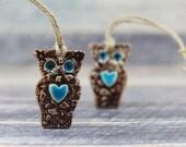 Owl ornament Ceramic ornament Holiday ornament Handmade