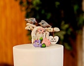 Personalized Wedding cake topper Ceramic pair of love birds on a sculptured tree of love Initials wedding cake topper Bride and groom