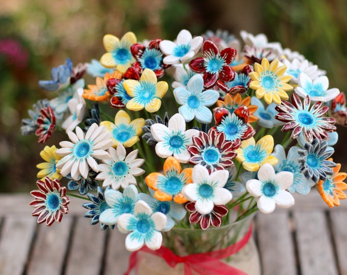Housewarming gift Hostess gift Flowers centerpiece Flowers decorations Ceramic flowers Holiday gift