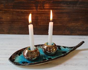 Shabbat candlestick Ceramic Candle holders Holiday decor Shabbat shalom Made in Israel