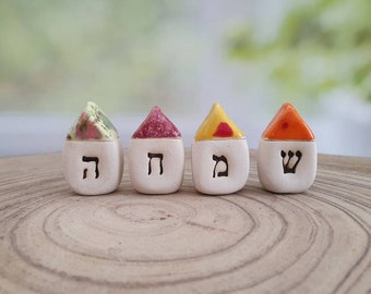 Jewish holiday gifts, Ceramic houses, Hebrew gifts, Miniature houses, Jewish gifts, Hebrew blessing, Personalized hebrew Hebrew letters