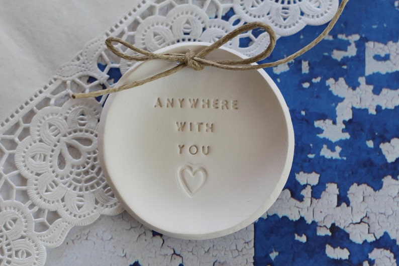 Wedding Gift Ring bearer pillow alternative Personalised Ring Dish Anywhere with you Wedding ring dish Alternative wedding Ring pillow