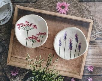 Botanical ceramic, Hostess gift, Nature inspired, Botanical home decor, Home styling ideas, Decorative bowl, Ceramic bowl, Imprint bowl