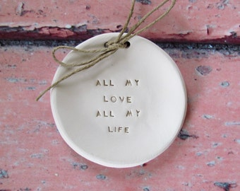 Ring bearer pillow alternative, Wedding ring dish All my love All my life Ceramic ring dish