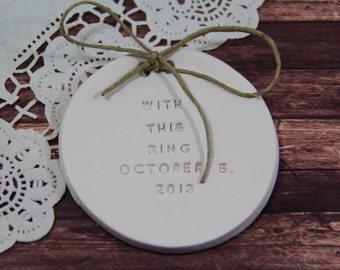 With this ring Personalized wedding ring dish alternative wedding Ring pillow Ring bearer ,Ring bearer