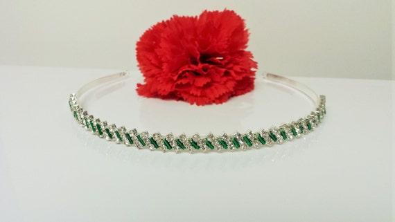 Couleur vert émeraude amélioré Rhinestone Bridal bandeau pour demoiselle d'honneur, bouquetière, fête de mariage.