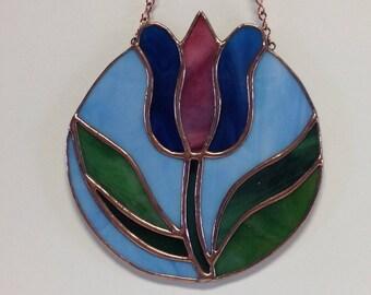 Stained Glass Pennsylvania Dutch Blue  Tulip Suncatcher