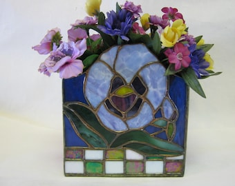 Stained Glass Lavender Blue Pansy Vase