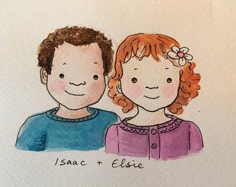 Children's Custom Portrait Illustration Pen and Watercolour