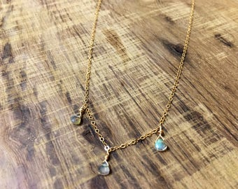 Labradorite choker, delicate gold choker with labradorite briolletes
