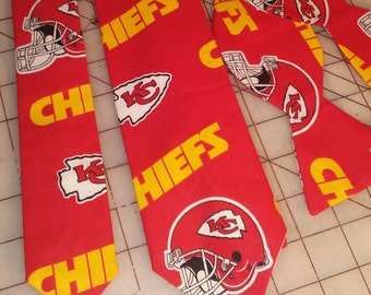 NFL Football Kansas City Chiefs Neckties in bow tie, skinny tie, and standard tie styles, kids or adult sizes