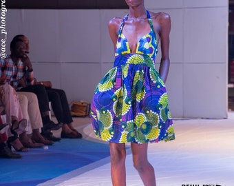 African Cotton Sundress made from Wax Block Cotton, with Plunge Halter Neckline and Above Knee Hemline