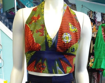 Flirty Ankara Midriff Halter in South African Wax Cotton