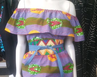 Ankara Wax Block Flounce Top in GTP African bird cotton