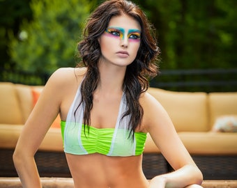 Lime Green Bandeau Bikini with White Mesh Halter Overlay