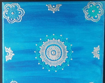 Acrylic on Canvas Henna Painting